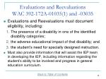 evaluations and reevaluations wac 392 172a 01035 1 and 03035
