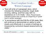 non compliant goals written language