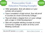 postsecondary goals education training examples