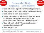 postsecondary goals employment non examples