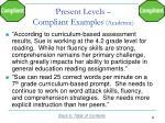 present levels compliant examples academic