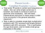 present levels compliant examples academic1