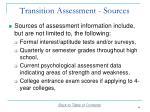 transition assessment sources