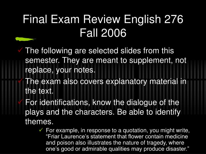 final exam review english 276 fall 2006 n.