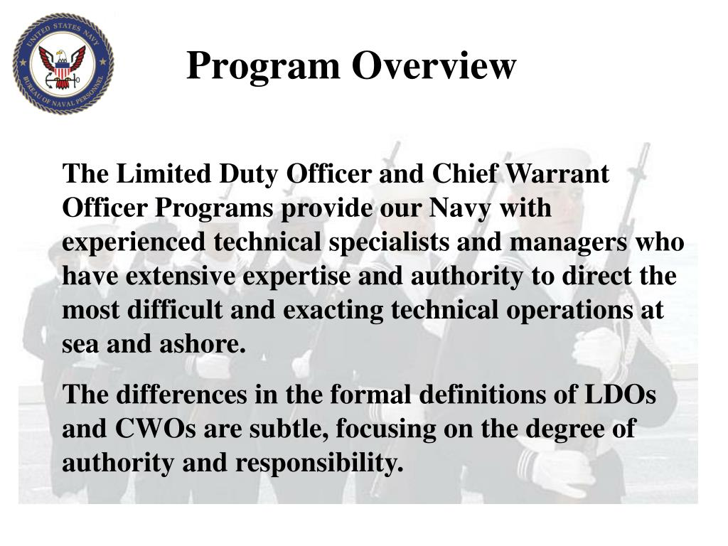 PPT - Limited Duty Officer Chief Warrant Officer Applicant