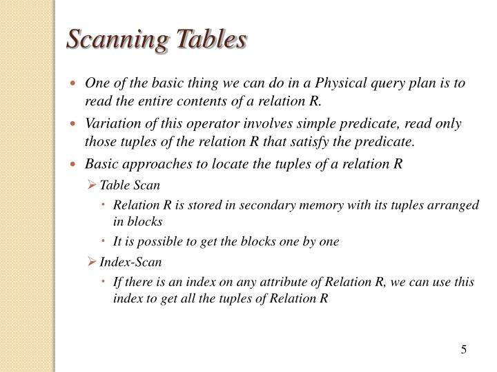 Scanning Tables