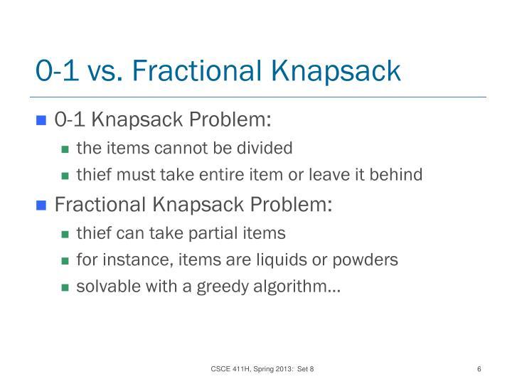 0-1 vs. Fractional Knapsack