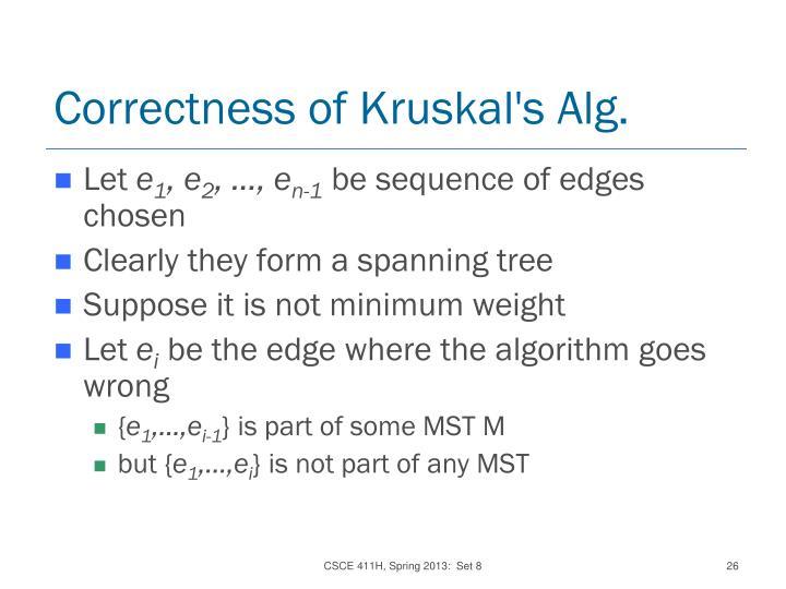 Correctness of Kruskal's Alg.