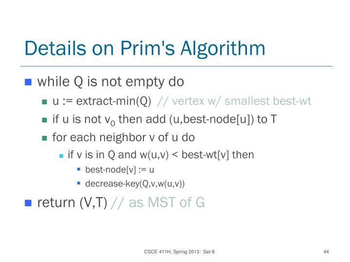 Details on Prim's Algorithm