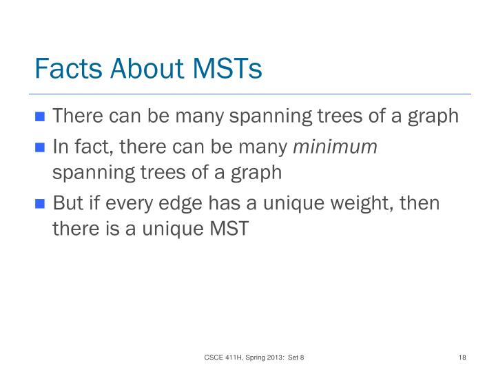 Facts About MSTs