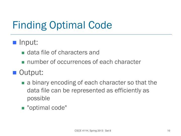 Finding Optimal Code