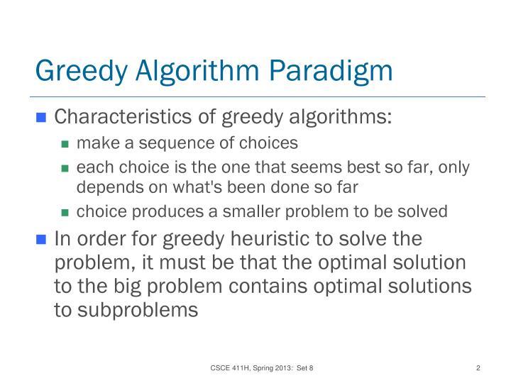 Greedy algorithm paradigm