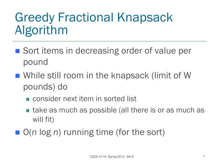 Greedy Fractional Knapsack Algorithm