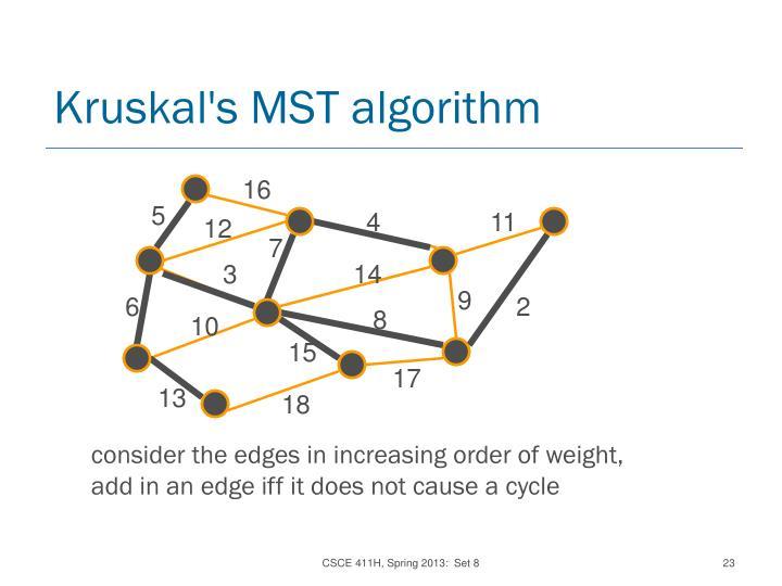 Kruskal's MST algorithm