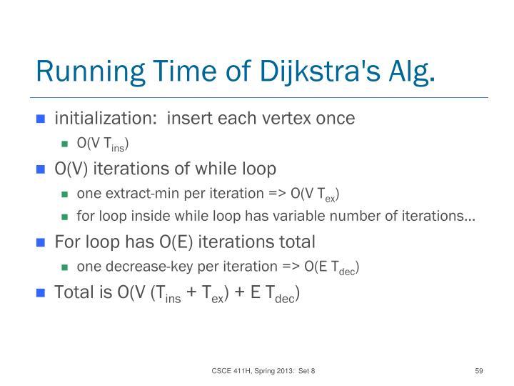 Running Time of Dijkstra's Alg.