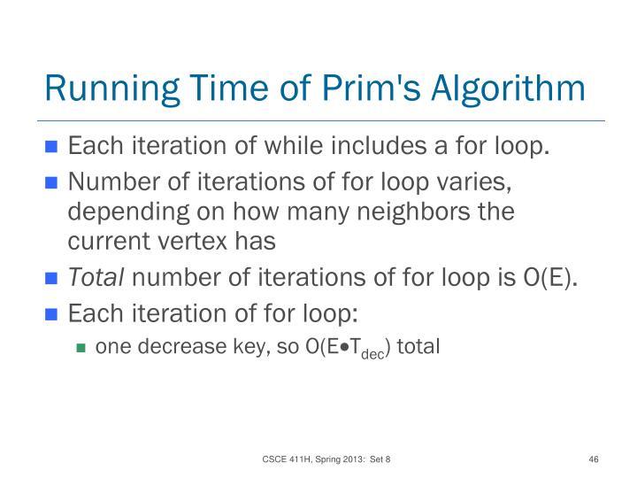 Running Time of Prim's Algorithm