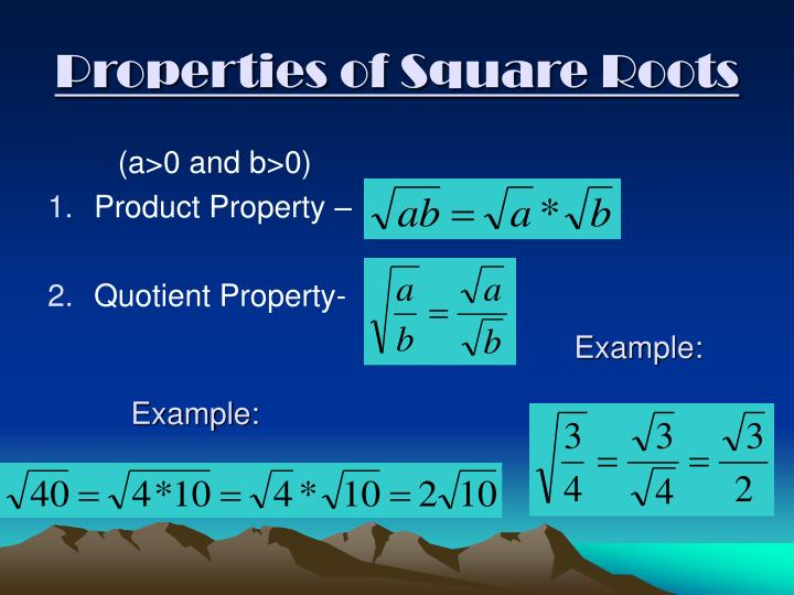 Properties of Square Roots