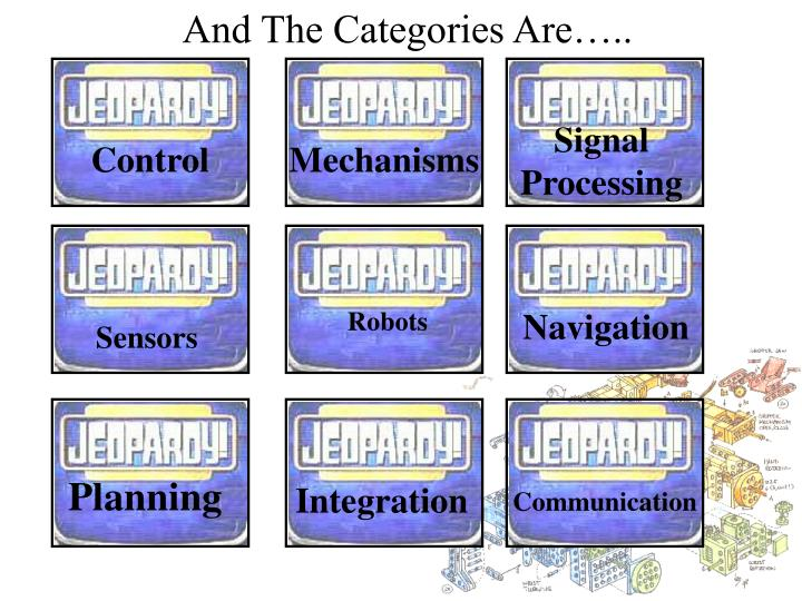 And The Categories Are…..