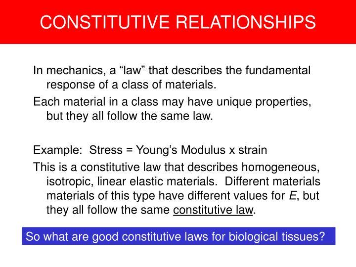 CONSTITUTIVE RELATIONSHIPS