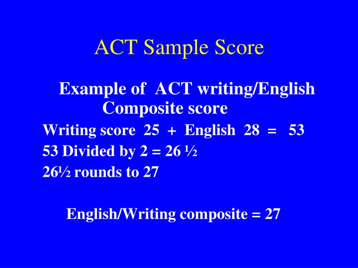 act writing score Your act writing score will be reported as five numbers the main score will be between 1-36 this is what colleges will look at the other four numbers represent how well you did in four domains.