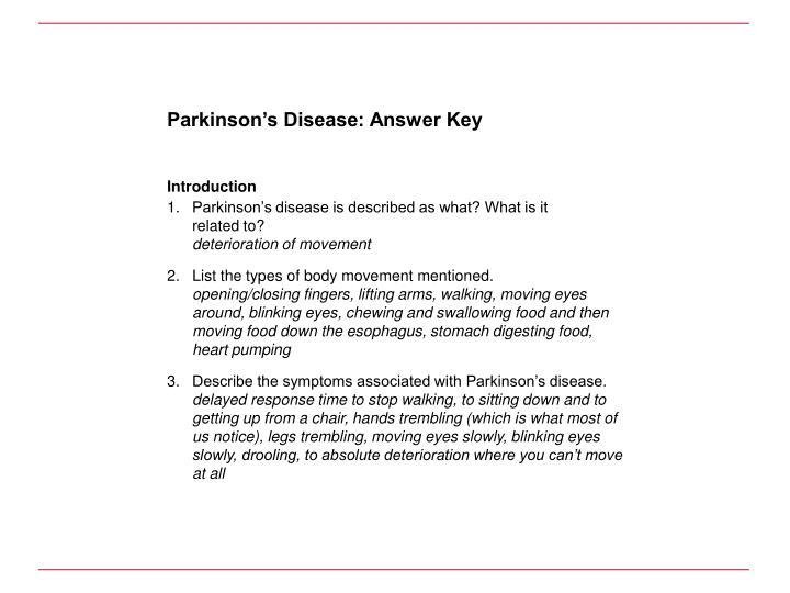 Parkinson's Disease: Answer Key
