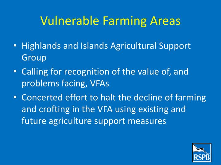 Vulnerable Farming Areas