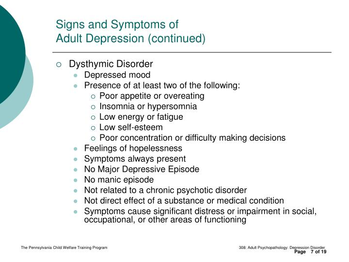 Ppt 308 Adult Psychopathology Depression Disorder Powerpoint