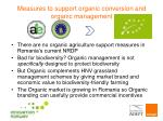 measures to support organic conversion and organic management