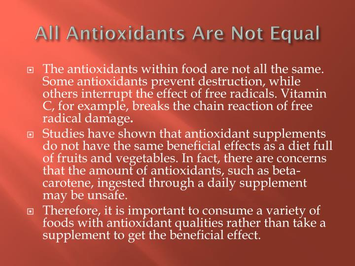All Antioxidants Are Not