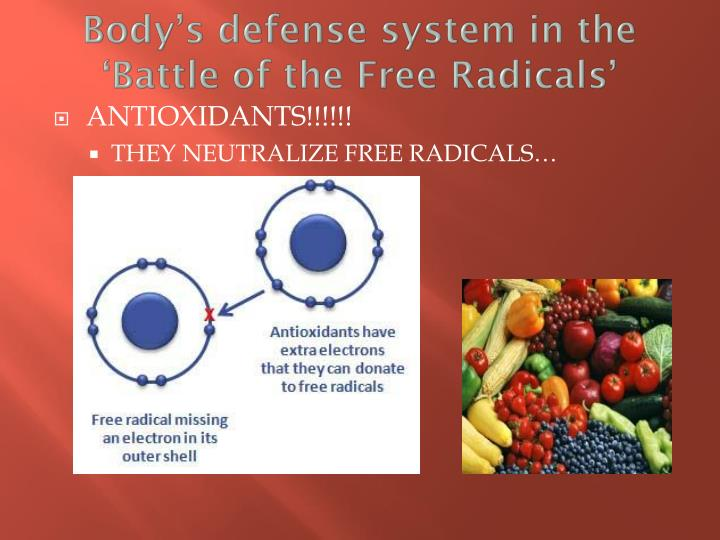 Body's defense system in the 'Battle of the Free Radicals'