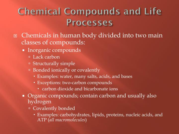 Chemical Compounds and Life Processes