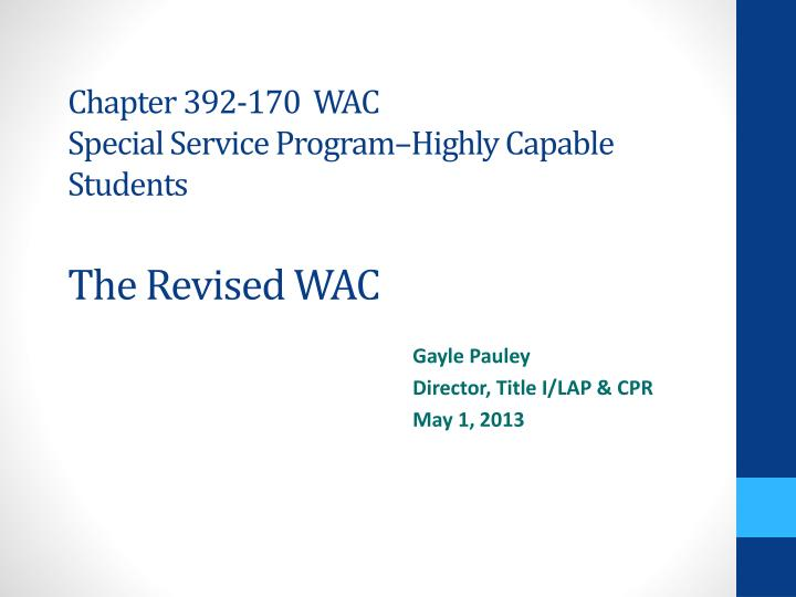 chapter 392 170 wac special service program highly capable students the revised wac n.