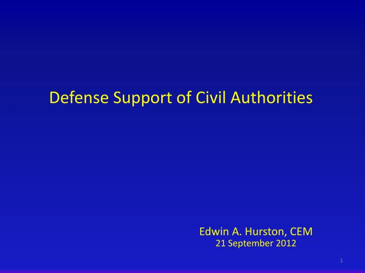 defense support of civil authorities n.