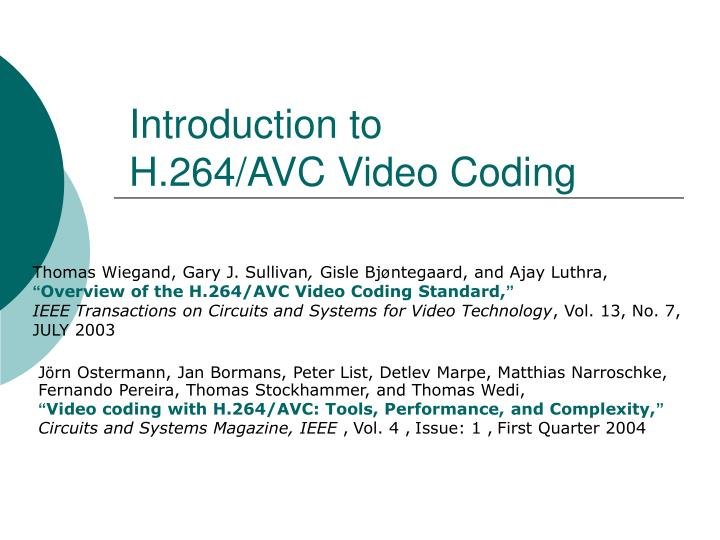 introduction to h 264 avc video coding n.