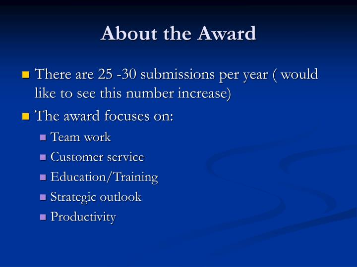 About the Award