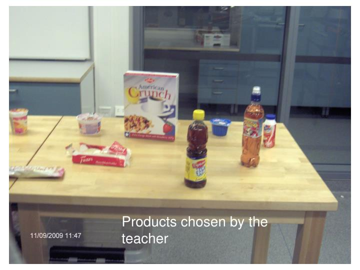Products chosen by the teacher