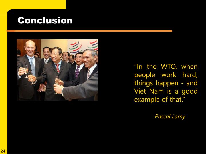 """""""In the WTO, when people work hard, things happen - and Viet Nam is a good example of that."""""""