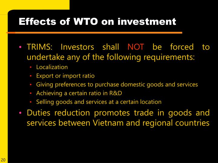 Effects of WTO on investment