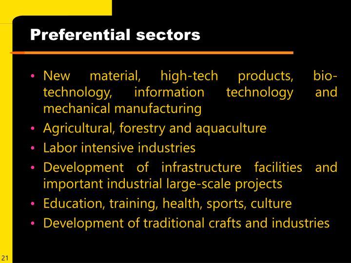 Preferential sectors
