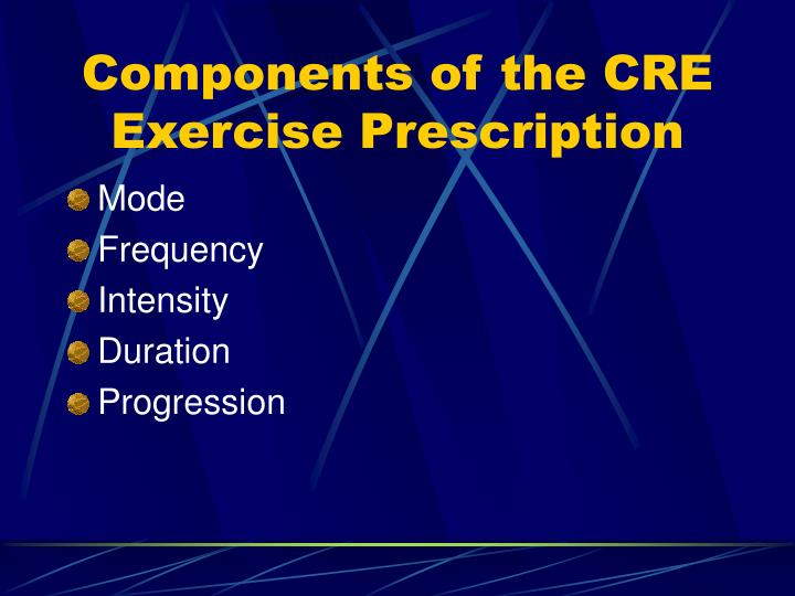 Components of the CRE Exercise Prescription