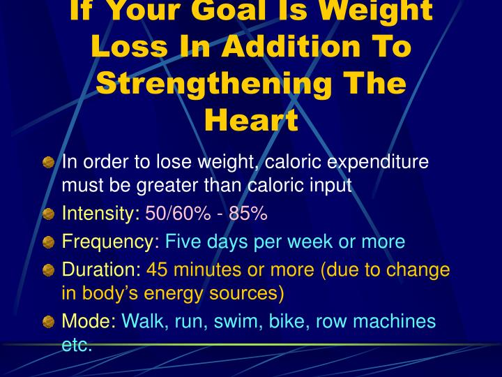 If Your Goal Is Weight Loss In Addition To Strengthening The Heart