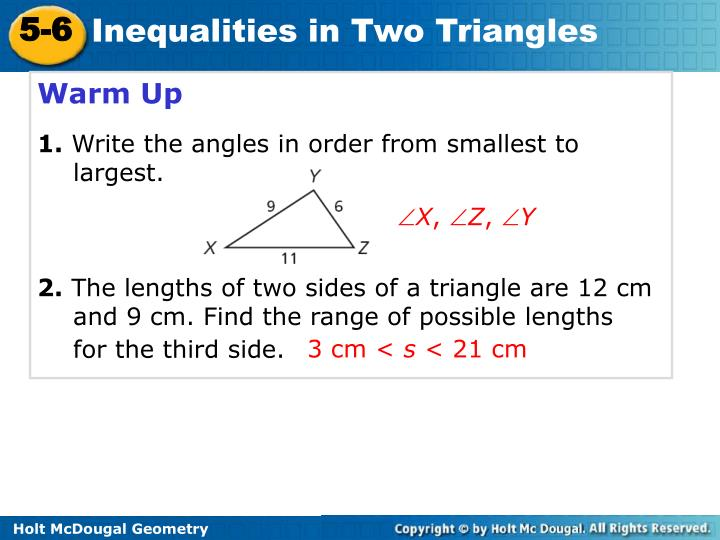 PPT - Warm Up 1. Write the angles in order from smallest ...