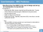 cost estimation n rc prediction