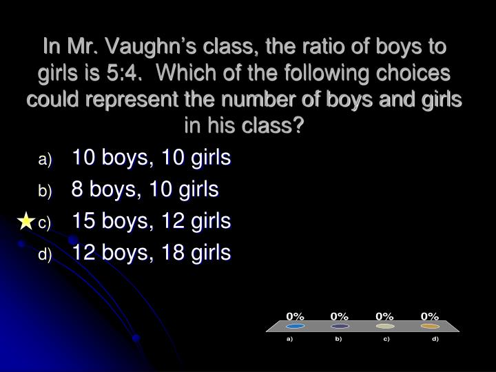 In Mr. Vaughn's class, the ratio of boys to girls is 5:4.  Which of the following choices could represent the number of boys and girls in his class?