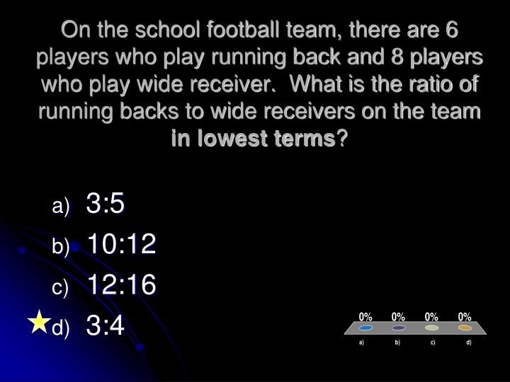 On the school football team, there are 6 players who play running back and 8 players who play wide receiver.  What is the ratio of running backs to wide receivers on the team