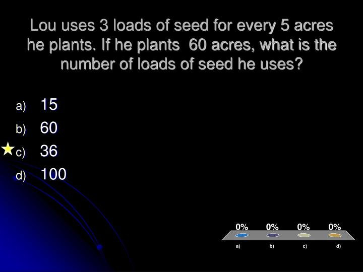 Lou uses 3 loads of seed for every 5 acres he plants. If he plants  60 acres, what is the number of loads of seed he uses?