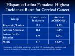 hispanic latina females highest incidence rates for cervical cancer