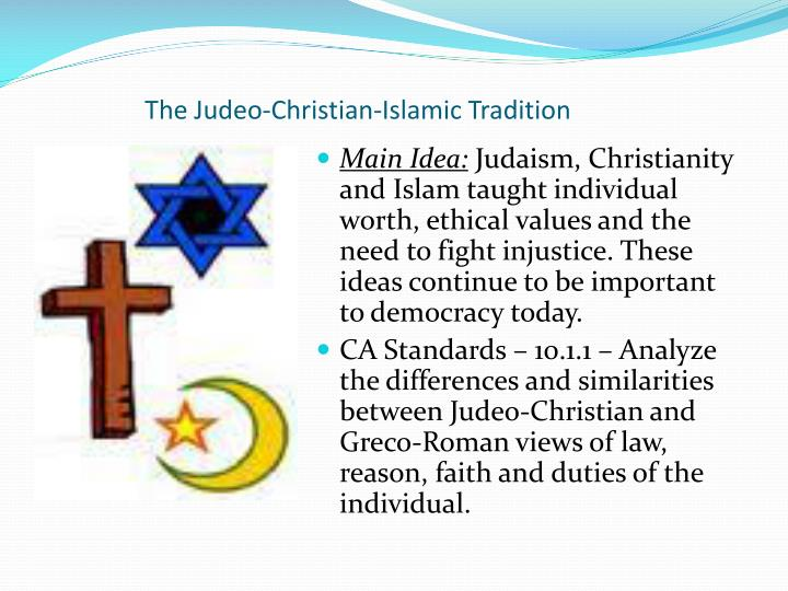 islamic understanding of judaic and christian traditions Introduction: the islamic tradition is director of the center for muslim-christian understanding islam is the second largest of the religious traditions in.