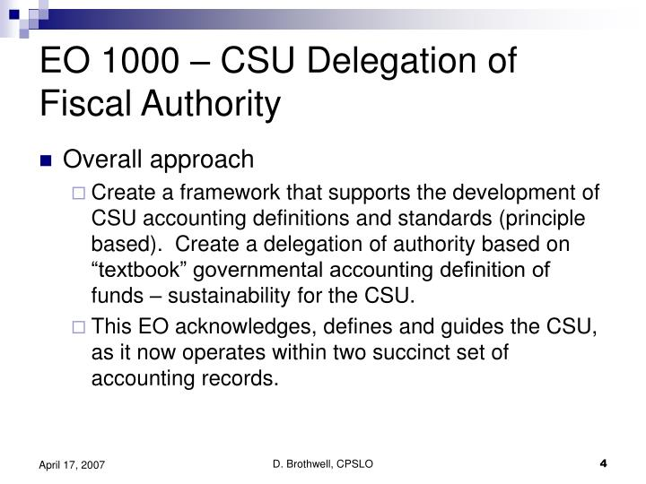 EO 1000 – CSU Delegation of Fiscal Authority