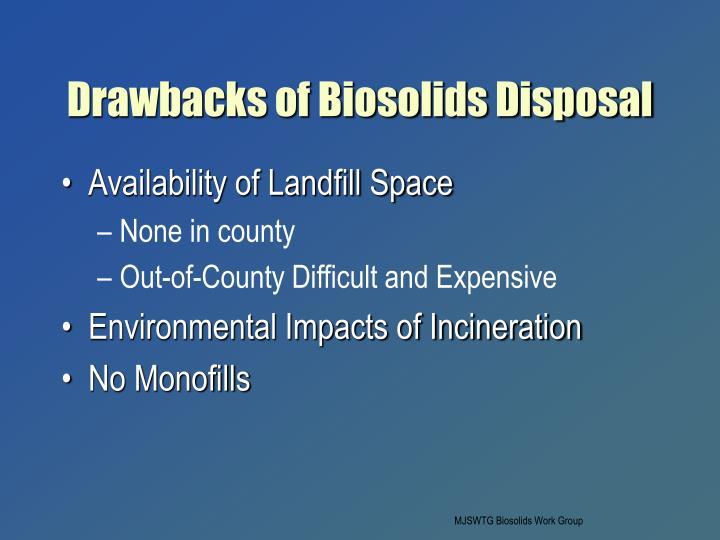 Drawbacks of Biosolids Disposal